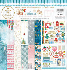 "Papel scrapbooking ""hello, winter"" 30x30 cm"