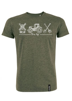 #Farmlife T-Shirt in Mid Heather Khaki