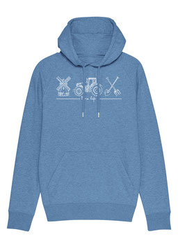#Farmlife Hoodie in Mid Heather Blue