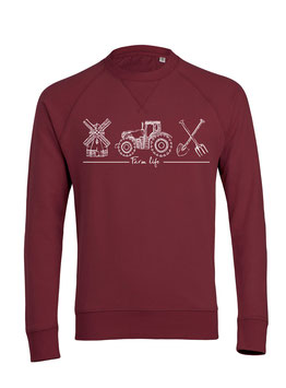 #Farmlife Sweatshirt in Burgundy