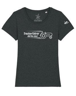 #Treckerfahrer T-Shirt für Mädchen in Dark Heather Grey