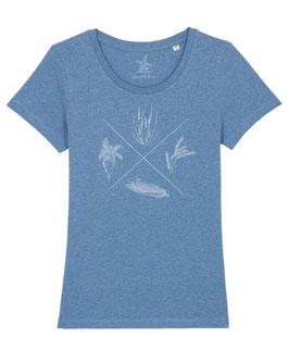 #4Jahreszeiten T-Shirt für Mädchen in Mid Heather Blue