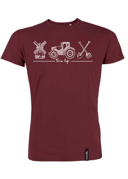 #Farmlife T-Shirt in Burgundy