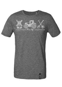 #Farmlife T-Shirt in Dark Heather Grey