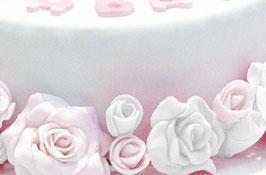+ weisse kleine Rosen