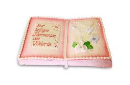 Buchtorte Kommunion rosa