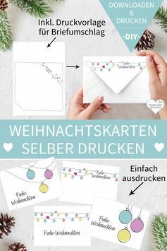 CHRISTBAUMKUGEL: DIY Weihnachtskarten inkl. Umschlag zum Ausdrucken
