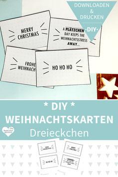 DIY WEIHNACHTSKARTEN drucken und basteln - Dreieckchen