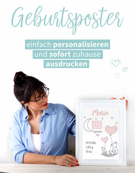 DIY GEBURTSPOSTER: FÜCHSE in Rosa