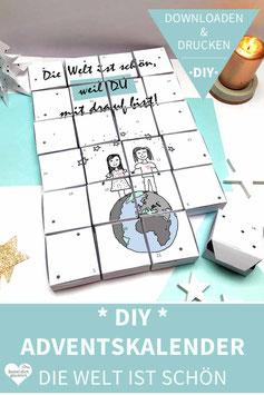 DIE WELT IST SCHÖN: DIY Adventskalender zum Ausdrucken