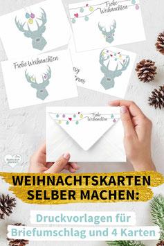 WEIHNACHTSHIRSCH: DIY Weihnachtskarten inkl. Umschlag zum Ausdrucken