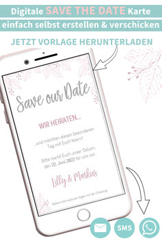 ZARTES BLATT: DIGITALE SAVE THE DATE KARTE