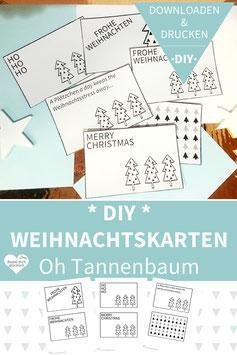 DIY WEIHNACHTSKARTEN drucken und basteln - Oh Tannenbaum