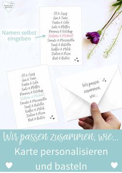 DIY KARTE: WIR PASSEN ZUSAMMEN, WIE...