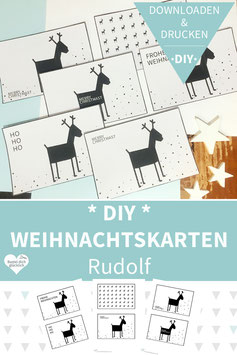 DIY WEIHNACHTSKARTEN drucken und basteln - Rudolf