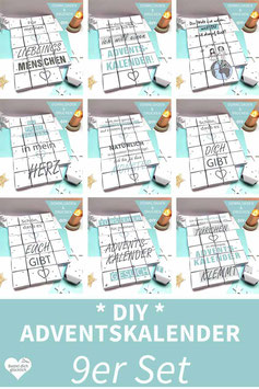 9er SET: DIY Adventskalender mit Sprüchen zum Ausdrucken