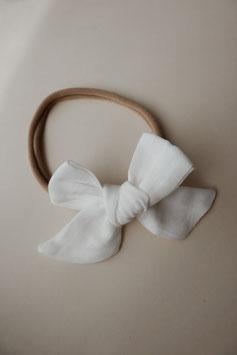 Musselin Haarschleife - Weiss
