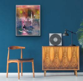 FILIFORM AM SEE, 2020, tecnica mista e stampa su tela, 40 x 60 cm