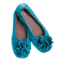 Pampuschen Damen Hausschuhe Grace Velvet Karibisch Blau