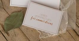 """Karte """"Liebesversprechen für immer deins"""" mit Umschlag (Kupferglanz-Optik)"""