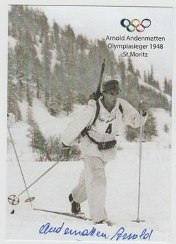 Autogramm des Olympiasiegers 1948 Arnold Andenmatten
