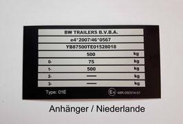 Anhänger, Mod. NL, Typenschild PKW-Anhänger, beschriftet, schwarz 100 x 50 mm