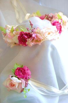 花冠 & ブレス セット flower tiara  「ローズピンク」