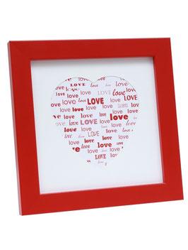 DEKNUDT - Cadre photo S45SK LOVE ROUGE OU BLANC  (bois) avec passe partout blanc forme coeur