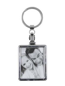 Porte-clef photo rectangle - Métal - Pour deux photos 3,5 x 4,5 offertes