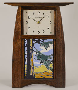 Arts & Crafts Tile clock in Solid Walnut and  choice of 6 X 8 Motawi Tile   #ACT-68-WAL