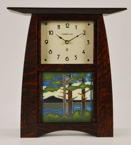 Arts & Crafts Tile clock in Quartersawn White Oak in Craftsman Oak Finish and  choice of 6 X 6 Motawi Tile   #ACT-66-CO