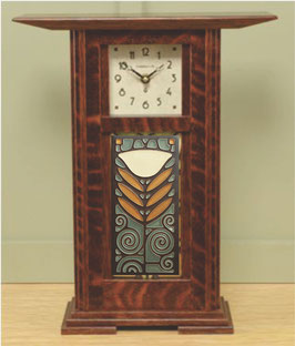 Prairie Tile Clock with Craftsman Oak Finish and choice of 4x8 tile