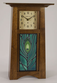 Craftsman Tile Clock with choice of 4x8 Motawi Tile in Solid Walnut with natural finish.   CTC-WAL