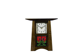 Craftsman Tile Clock with Craftsman Oak Finish & 4 x 4 Tile        CTC-44-WAL
