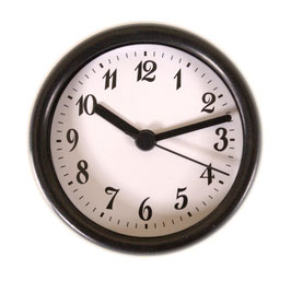 "3 1/4"" (83mm) Clock Fit-up  White Arabic w/Black Rim 200263"