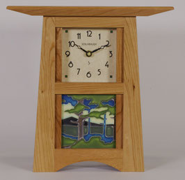 Craftsman Tile Clock: Solid Cherry with choice of Motawi 4 x 4 Tile        CTC-44-CH