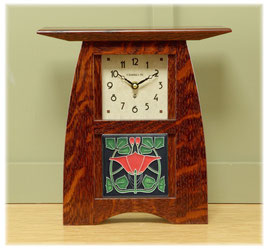 "Arts & Crafts Tile Clock in Quartersawn White Oak with ""Craftsman Oak"" Finish  with Choice of Motawi  4 x 4 Tile        ACT-44-CO"