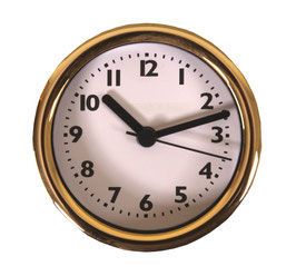 "3 1/4"" (83mm) Clock Fit-up  Bold White Arabic w/Gold Rim 200272"