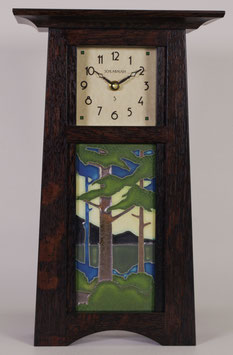 Craftsman Tile Clock with choice of 4x8 Motawi Tile in Craftsman Oak Finish.   CTC-SLATE