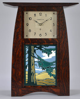 Arts & Crafts Tile clock in Quartersawn White Oak with Craftsman Oak Finish and  choice of 6 X 8 Motawi Tile   #ACT-68-CO