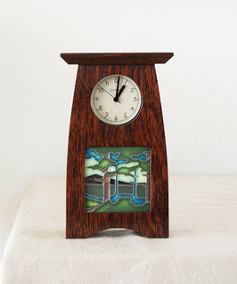 Arts & Crafts 4x4 Tile Clock - Craftsman Oak Finish