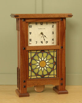 Greene & Greene Mantel Clock with your choice of any handcrafted Motawi 6x6 tile