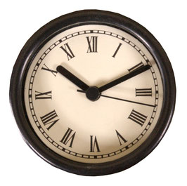 "3 1/4"" (83mm) Clock Fit-up  Ivory Roman with black rim 200276"
