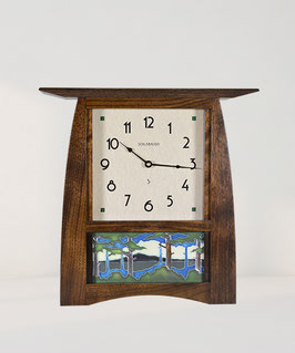 Arts & Crafts 8x4 Tile Clock - Solid Walnut
