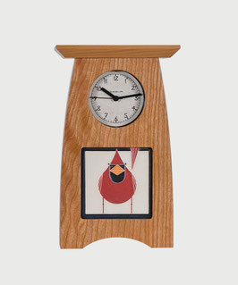 Arts & Crafts 4x4 Tile Clock - Solid Cherry
