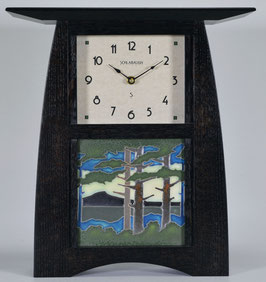 Arts & Crafts Tile clock in Quartersawn White Oak in Slate  Finish and  choice of 6 X 6 Motawi Tile   #ACT-66-SLATE