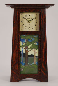 Craftsman Tile Clock with choice of 4x8 Motawi Tile in Craftsman Oak Finish.   CTC-CO