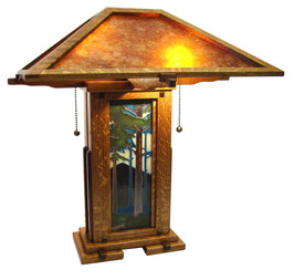 Greene & Greene Lamp  With Nut Brown Oak Finish