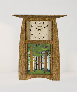 Arts & Crafts 6x8 Tile Clock - Nut Brown Oak Finish