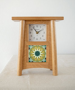 Scandinavian Tile Mantel Clock - Natural Oak Finish